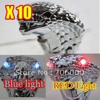 10pcs/LOT NEW AUTO Blue / Red LED light Snake Transmission Gear Knob / Shift Knob Shifter Silver Free Shipping
