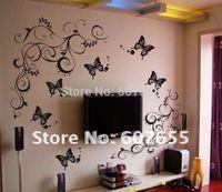 Free shipping!2pcs/set 80cm*70cm,10sets/lot,butterfly decoration wall sticker,home sticker wall sticker