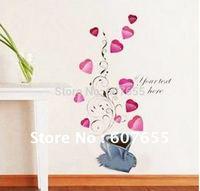 50*70CM,wholesale,free shipping!8pc/lot,heart decoration wall sticker/home sticker wall sticker