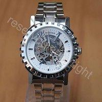 Silver Tone Skeleton Automatic Self-Wind Mechanical Mens Wrist Watch Steel A388