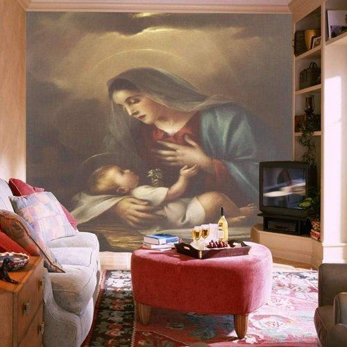 Frete Gr Tis Mural Maria Tecido Papel De Parede Wallpaper Novos