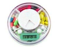 Wholesale 10pcs/lot New Portable Novelty Creative Promotional Timing Clocking Round Plastic Electronic Pill Medicine Box Case