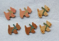 set of 150pcs Lovely Dog Wooden Accessory Pendants Cabochon Charm beads (21x25mm)