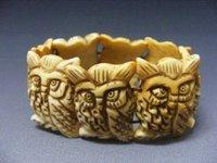 Amulet chinese handcraft owl carved pig bone bracelet