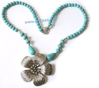 100% HANDMADE,Tibetan Silver Turquoise Earring Bracelet Necklace Jewelry Sets/Vintage Retro Jewelry Sets,Free Shipping