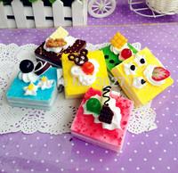 NMR-001 Simulation food squishy cake makeup mirror,hamburger pocket makeup cosmetic mirror,mirror bag/phone/key chain straps
