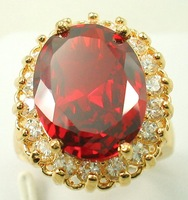 Free Shipping New Wholesale and retail Noblest Genuine Ruby ring in 14KT yellow Gilding Size 8