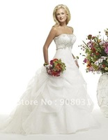 2013 wedding gown designs Princess style strapless scoop Embroidery organza wedding dresses/free shipping