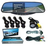 Car Wireless Rearview Camera System+Car Bluetooth Handsfree+Rearview Mirror+Parking Sensor System+Wireless Earpiece(WBT728SEC4)