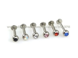 14G 316L Surgical Steel Labret Monroe Lip Ring &amp; Tragus Cartilage with 4mm Gem Top, Body Jewelry(China (Mainland))