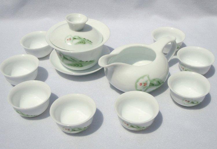 10pcs smart China Tea Set Pottery Teaset Lily TM04 Free Shipping