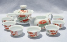 10pcs smart China Tea Set, Pottery Teaset,Fish ,TM08, Free Shipping