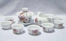 10pcs smart China Tea Set, Pottery Teaset,Purple Magnolia,TM12, Free Shipping