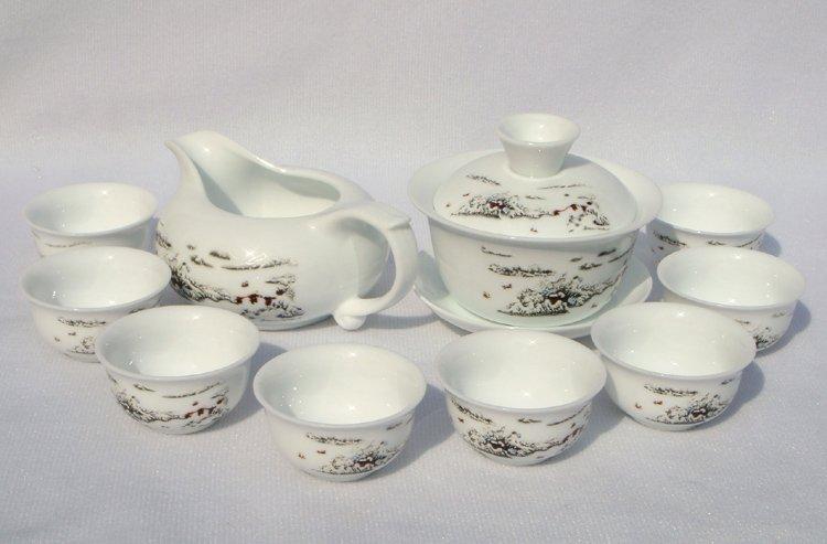 10pcs smart China Tea Set Pottery Teaset White Snow TM17 Free Shipping
