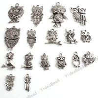 Wholesale - 68pcs Hot Sale Assorted Mixed Owls Silver Tone Charms Pendants Fit Necklaces Have in Stock 140669