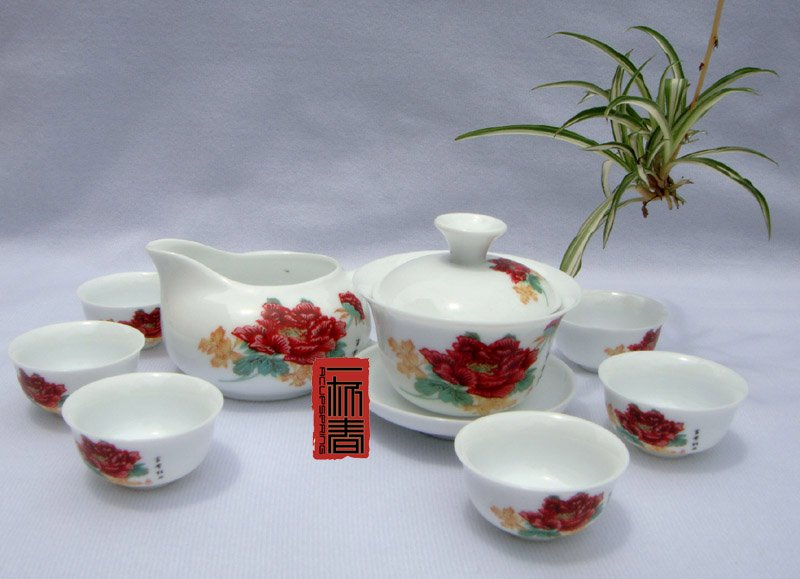 10pcs smart China Tea Set Pottery Teaset Red Peony TM24 Free Shipping