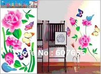 Hot sale!Free shipping!20pc/lot 33*60cm butterfly flower wall sticker decoration paper room decal