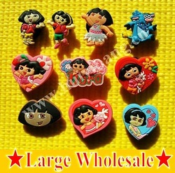 Free Shipping 10pcs Lot DORA shoe decoration/shoe charms/shoe accessories for clogs hyb033-01(China (Mainland))