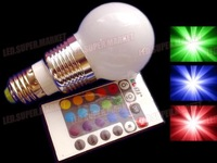 E27 3W RGB LED 7Colors 110~220VAC Lamp LED Light Bulb +IR Remote Control Hot Selling Free Shipping With CE and ROHS