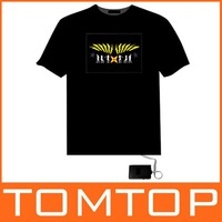 Футболка Better Quality! EL T-Shirt Sound Activated Flashing T Shirt Light Up Down Music Party Equalizer LED T-Shirt