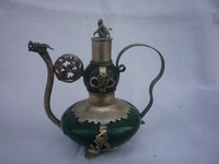 collection Old Qing Dynasty silver&Jade  teapot\flagon,Free shipping