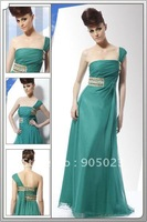 2012 one-shoulder green chiffon women dress