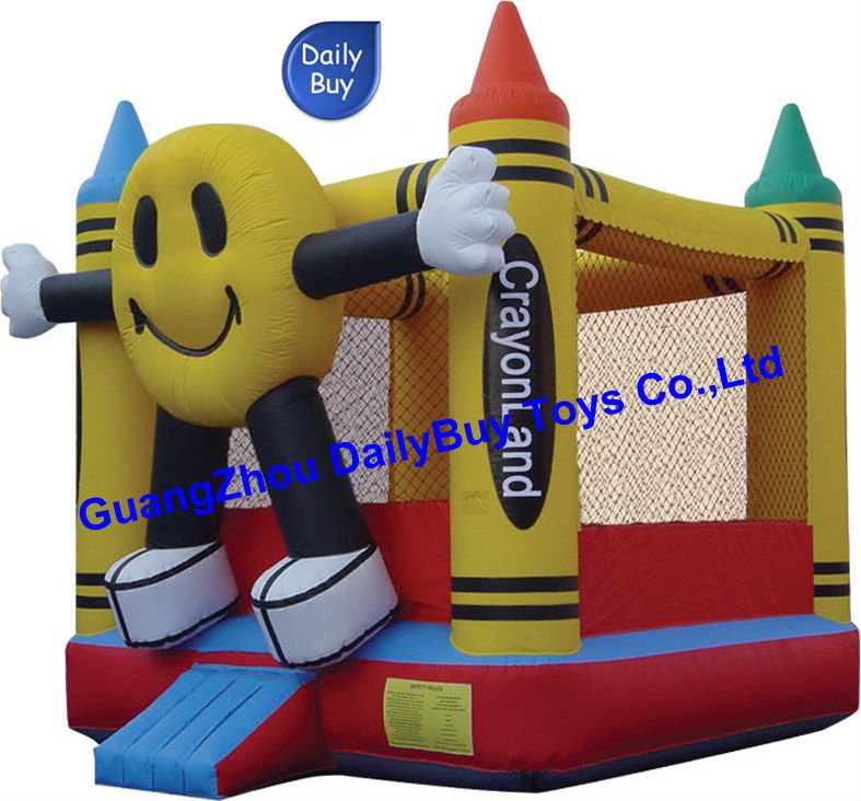 DBB-08 0.6mm PVC 2011 Happy Face Crayonland Inflatable Bounce House & CE/UL Blower & Repair Kits Factory Price(China (Mainland))