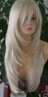 Healthy long white human made hair full wigs+gift