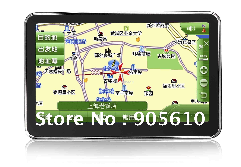 Free shipping 4.3inch super slim design fashion GPS car navigator 4G+bluetooh+AV/IN+Fm transimitter window CE 6.0(Hong Kong)