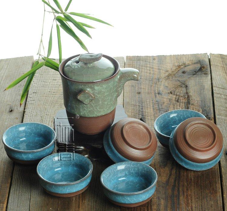 7pcs Exquisite Ice Carck Tea Set Porrtery Teaset TB01 Free Shipping