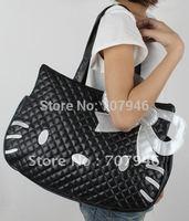 New Black Hello Kitty hellokitty cat PU Leather Shoulder Tote Bag Handbag Purse Free Shipping