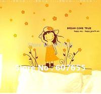 Hot sale!Free shipping!5pc/lot 60*105cm cartoon flower decoration wall sticker tree room paper wall sticker