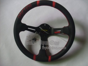 MOMO14 inches leather, leather Sport Steering Wheel for Modified Car , Sports Car--Show Your Style