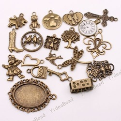 $5 off per $100 order, Wholesale - 80pcs Mixed Assorted Fashion Bronze Tone Charms Pendants Fit Necklaces Have in Stock 140178(China (Mainland))
