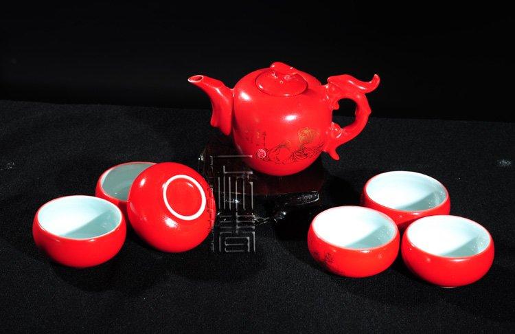 7pcs Exquisite Tea Set Porrtery Teaset Red TH01 Free Shipping