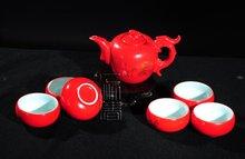 7pcs Exquisite Tea Set, Porrtery Teaset,Red, TH01, Free Shipping