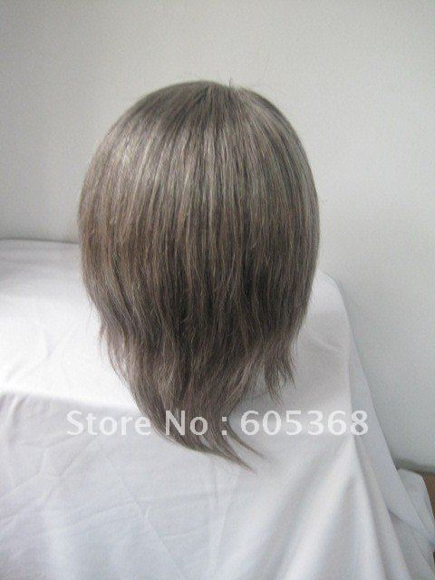wholesale 6inch gray hair full lace wig french lace large cap size for old man(China (Mainland))