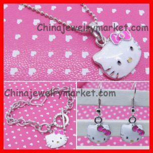 Hello kitty Enamel cute Jewelry Set( Earring+Bracelet+Necklace) 50set/lot Paypal OK+ FREE SHIPPING+Free Jewelry Gift Bag(China (Mainland))