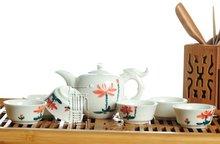 7pcs Deluxe Tea Set, Porrtery Teaset,Lotus,TY01, Free Shipping