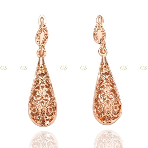 Christmas Sale rose gold drop earrings,,Nickle free antiallergic fashion jewelry earrings,Chrsitmas Gift(China (Mainland))