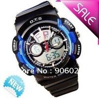 2014 Hot sale high quality New Digital LED Light Sport Boys blue Watch Waterproof free shipping
