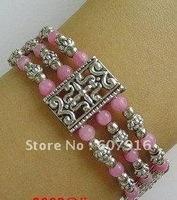 Tibetan silver bracelet handmade pink agate CX2011109559