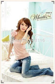 Korean Style Women's Fashion Sleeveless T Shirts/top Clothes,new Style Ladies Slim Summer T Shirt,pink,white,wholesale/x003