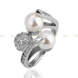 GS18KRGPR085/Promotion,free shipping,18k gold plated ring,pearl ring,Nickle free antiallergic factory prices(China (Mainland))