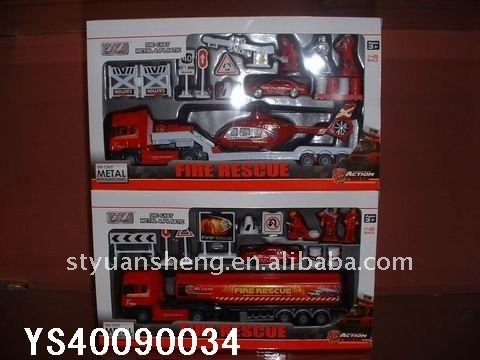 Wholesale sales series 1:48 Alloy Pull Back Car Fire Truck Set(China (Mainland))