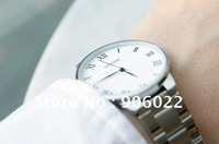 2014 Hot sale New mens ultra thin Simple and elegant business fashion cool white quartz Watch free shipping