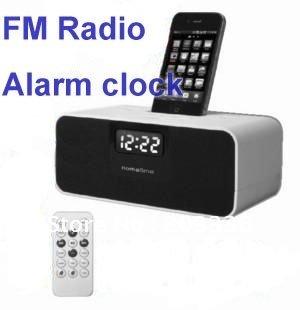 LCD Speaker FM Radio Alarm Clock Charging Docking Station For IPhone iPod, Free Shipping!(China (Mainland))