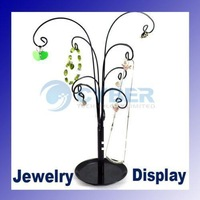 fashion jewelry display,Earring Necklace showcase Tree stand holder 12 scrolled hooks 964