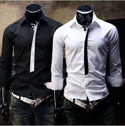 Mens black casual dress shirt