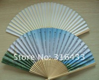 "Free Shipping 8.2"" Promotional Folding Advertising Paper Fan Folding Hand Fan With Custom Imprinted On The Paper Single Side"